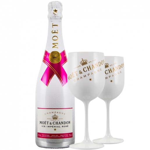Moet Ice Imperial Rose + Set mit 2 Gläsern