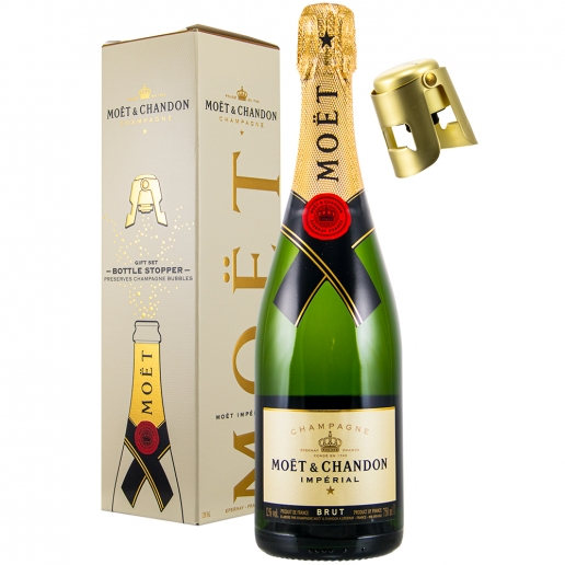 Moet Chandon Imperial Brut Geschenkset mit Bottle Stopper Gold