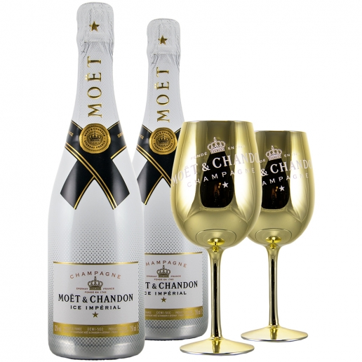 2x Moet Ice Imperial + 2 Glasses Gold